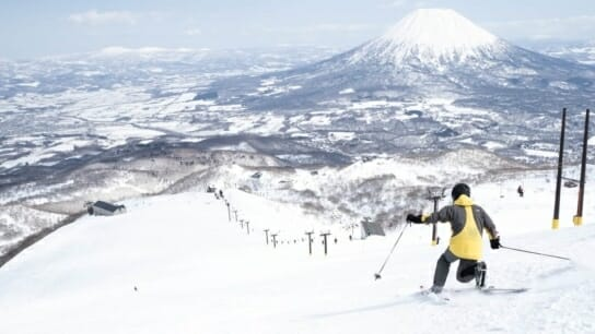 a telemark skier who slides on the Grand Hirafu